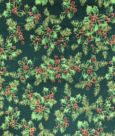 Christmas Print Large Holly  - Green