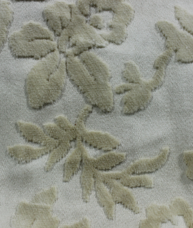 Floral Devore Upholstery Fabric - Cream