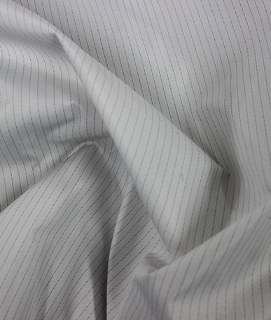 Anti-Bac Pinstripe Lining - White with Grey Pinstripe