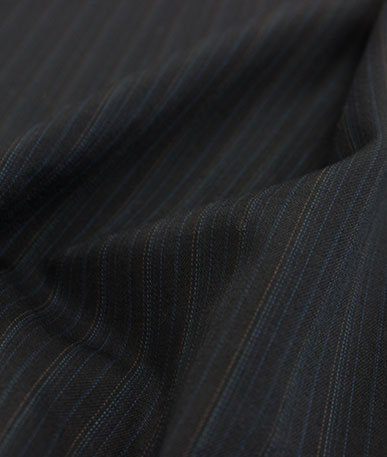 Polyester Wool Mix Suiting(1) Subtle Blue - Blue Pinstripe