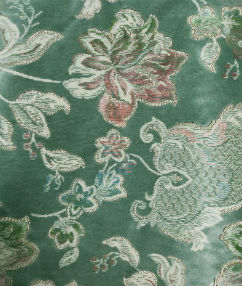Green Floral Upholstery Velour - Sage Green